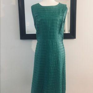 Lafayette 14B leather and silk strip dress size 14